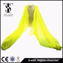 2015 novo produto viscose amarelo lenço instantâneo xaile