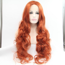 Peluca peluca sintética roja del frente del cordón del vino extra largo barato peluca natural ondulada a prueba de calor de la peluca roja de Borgoña