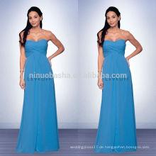 2014 Blau bodenlangen Brautjungfer Kleid mit Schatz Ausschnitt Reich langes Chiffon Prom Kleid mit Criss-Cross Pleats NB0736