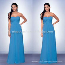 2014 Blue Floor-Length Bridesmaid Dress With Sweetheart Neckline Empire Long Chiffon Prom Gown With Criss-Cross Pleats NB0736