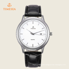 Fashion Men′s Leather Stainless Steel Quartz Wrist Watch 72305