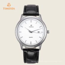 Relógio de pulso de aço inoxidável 72305 de quartzo do couro dos homens da forma