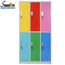 Mobilier de chambre design moderne six portes en acier almirah garde-robe