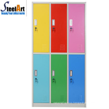 Modern design bedroom furniture six door steel almirah wardrobe