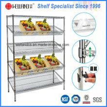 Présentoir de légumes en acier réglable commercial 4 couches utilisé