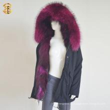 Fabrik Großhandelspreis Waschbär Fox Warm Parka Winter Pelz Jacke