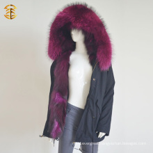 Factory Wholesale Price Raccoon Fox Warm Parka Winter Fur Jacket