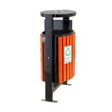 Eco-Friendly Wooden Steel Dustbin for Outdoor (B7380)