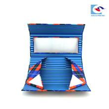 kundenspezifischer faltbarer Geschenkkasten des Pappkartons, der mit Fenster blau ist