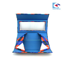 custom cardboard foldable gift box packaging blue with window