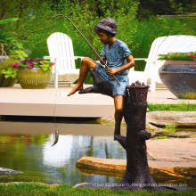 Extérieur grand jardin décoration métal artisanat bronze sculpture garçon pêche statue