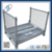 Cage de stockage de métal à cargaison revêtue de zinc avec chariot à roues