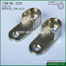 Brida plana del tubo de los muebles de la aleación caliente del cinc del níquel de la venta para el uso del guardarropa de los muebles