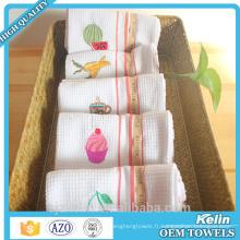serviette de coton de cuisine de gaufre de broderie