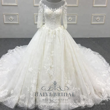 Nueva llegada hermosa mujer vestido de novia vestido de bola vestido de boda de lujo real vestido de novia con la corte