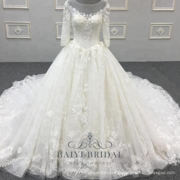 Nouvelle arrivée de belles femmes robe de mariée robe de mariée robe de mariée de luxe véritable robe de mariée avec le tribunal