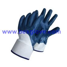 Baumwoll Jersey Liner, Sicherheitsmanschette, Nitrilbeschichtung, halbbeschichtet