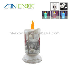 Plastic LED Candle Light with glitter Rotating