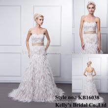 2016 novo design mais recente sexy querido bege correia china vestido de noiva feito sob encomenda / designer vestido de noiva padrões