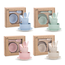 6pcs/set tableware eco friendly degradable plates cup dinner set wheat straw cutlery dinnerware sets