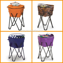 Pop-Up Tailgating Cooler removable and collapsible Portable cooler tub stand with metal legs and 100% polyester cover