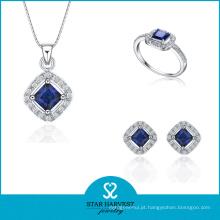 O brinco elegante da prata esterlina soa a jóia com pedra preciosa (J-0018)