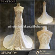Vestido de noiva de sereia de manga curta feito sob medida de alta qualidade