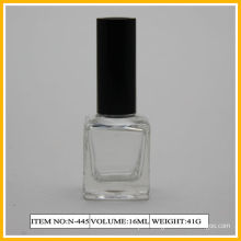 Square Shape Nail Polish Containers , 16ml Bottle With Long Black Cap