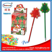 Plastic Christmas Gift Ball-Point Pen with Candy