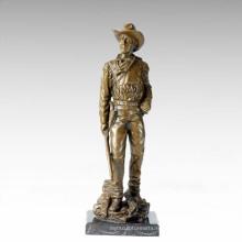 Statue des soldats Statue Gun Cowboy Bronze Sculpture TPE-306/308