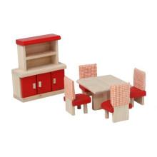 Vermelho sala de jantar fingem brincar brinquedo de madeira mini brinquedos de mobiliário YT1111