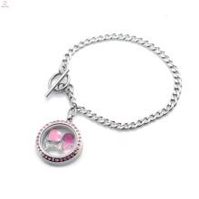 Moda de acero inoxidable de plata magnética de color rosa cristal de alternar corchete flotante foto pulsera del medallón de la joyería