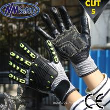 NMSAFETY HPPE Gants de sécurité TPR résistant aux coupures et aux chocs / gants niveau 5