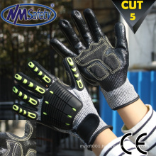 NMSAFETY HPPE Cut and Impact Resistant TPR Safety Glove / level 5 cut gloves