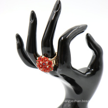 New Fashion Adjustable rhinestone finger ring colorful Bouquet Flowers Ring