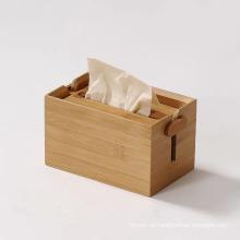 Suporte para lenços de papel caixa de madeira de bambu ajustável em tecido