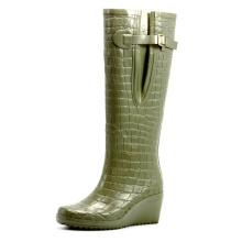 Green Crocodile Wedge Heel Rubber Rain Boots