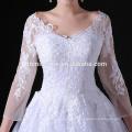 Schöne Spitze Appliqued Langarm Weiß Elegantes Hochzeitskleid Abendkleid Langarm