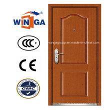 Porte blindée en placage en bois MDF en acier inoxydable de haute qualité (W-B1)