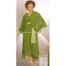 Super cómoda tela de gasa vestidos de diseño glamoroso para la madre novias