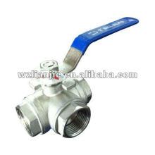 DN25 robinet à boisseau sphérique en acier inoxydable 3 Way BSP vissé se termine