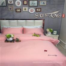 Conjuntos de capa de edredon de linho de hotel de artigo de cama rosa prêmio