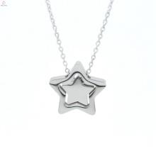 Boutique de moda Ip galjanoplastia de acero inoxidable doble estrella colgante