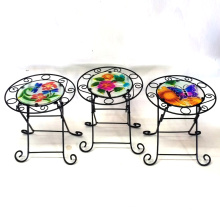 3 Asst Garden Decoration Stained Glass Chair Metal Flowerpot Stand Craft