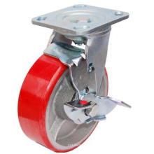 PU girável em castrade de ferro fundido com travão lateral (vermelho)