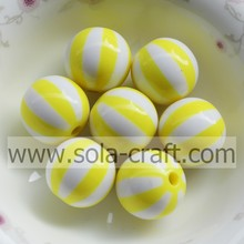 Lovely Jewelry! 12mm 500pcs/lot Yellow Striped Wholesales Diy Charms Beads,Cheap Loose Round Resin Beads ! Necklace Making Bea