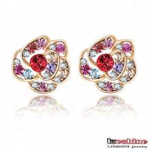 Pas cher en gros fleur en forme de boucles d'oreilles en cristal pour les femmes (ER0004-C)