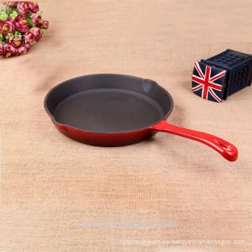 Hogar utensilios de cocina ronda hierro fundido sartén rojo oscuro