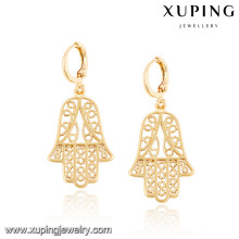 92444 Xuping novo designd brincos de hamsa banhado a ouro