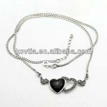 Hot sale heart shape jewelry antique 925 sterling silver necklace